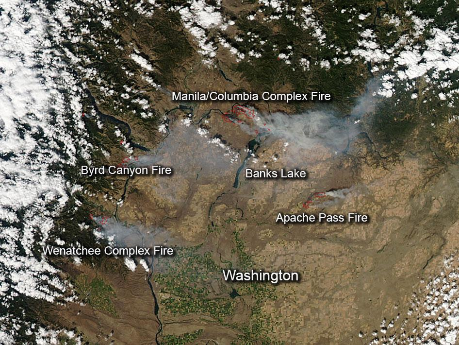 Fires in Central Washington state