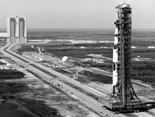 The mobile launcher platform and Saturn V rocket roll to Launch Pad 39B for the Apollo 10 mission