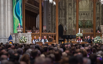 Apollo 17 mission commander Gene Cernan, the last man to walk on the moon, speaks during a memorial service celebrating the life of Neil Armstrong at the Washington National Cathedral, Thursday, Sept. 13, 2012.