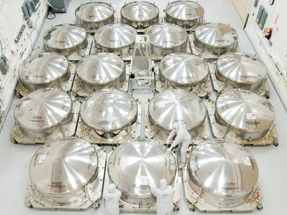Webb Telescope mirrors encased in special shipping canisters