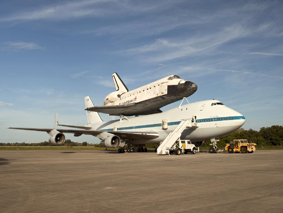 NASA's Shuttle Carrier Aircraft with space shuttle Endeavour secured on its back