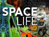 The words SPACE LIFE, with colorful montage of butterfly and flower, spider's web, man and glovebox, and other life science images