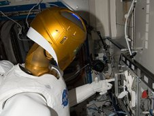 Robonaut 2 works with task panels in the Destiny laboratory of the International Space Station. (NASA)