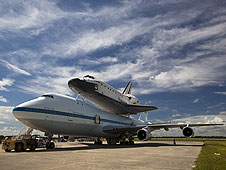 The shuttle carrier aircraft (SCA) and Endeavour