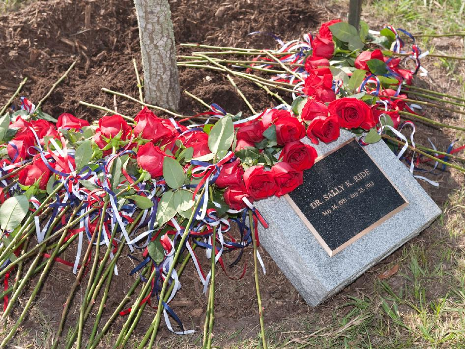 Sally Ride memorial plaque and roses