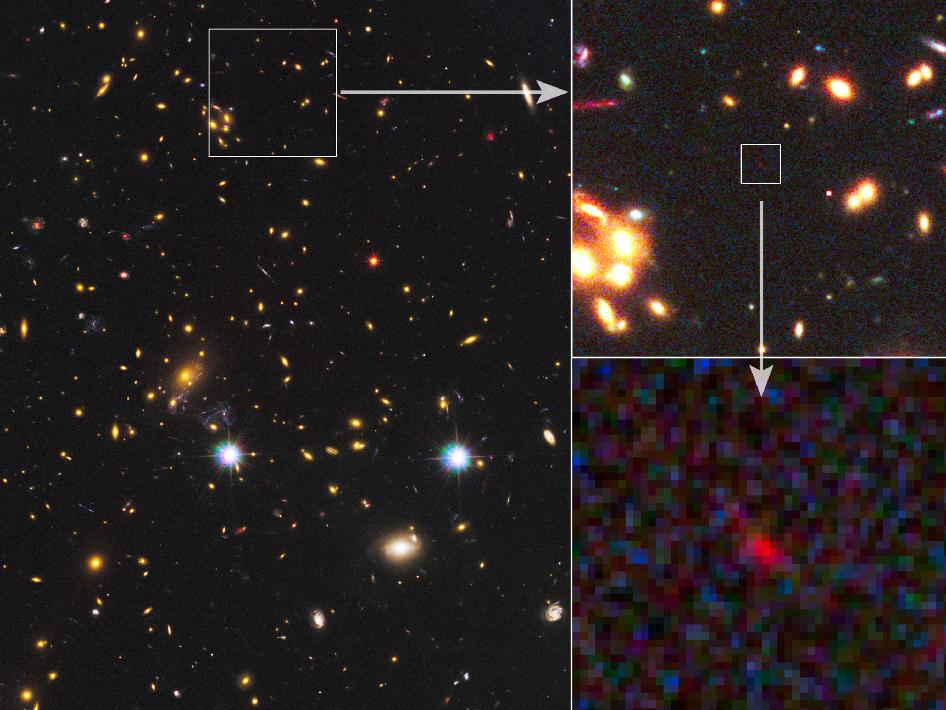 With the combined power of NASA's Spitzer and Hubble space telescopes, as well as a cosmic magnification effect, astronomers have spotted what could be the most distant galaxy ever seen.