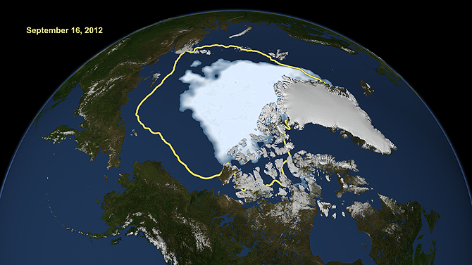 An image of the Arctic sea ice on September 16, 2012.