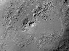 Perspective view of Marcia crater on the giant asteroid Vesta