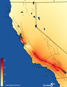 The total ground deformation caused by a simulated magnitude 8.0 earthquake on the San Andreas fault.