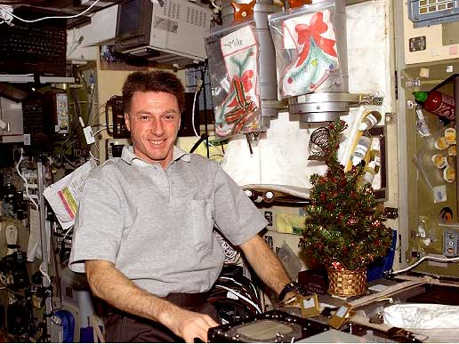 Expedition 8 Commander Michael Foale poses with holiday decorations
