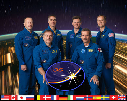 ISS035-S-002: Expedition 35 crew portrait