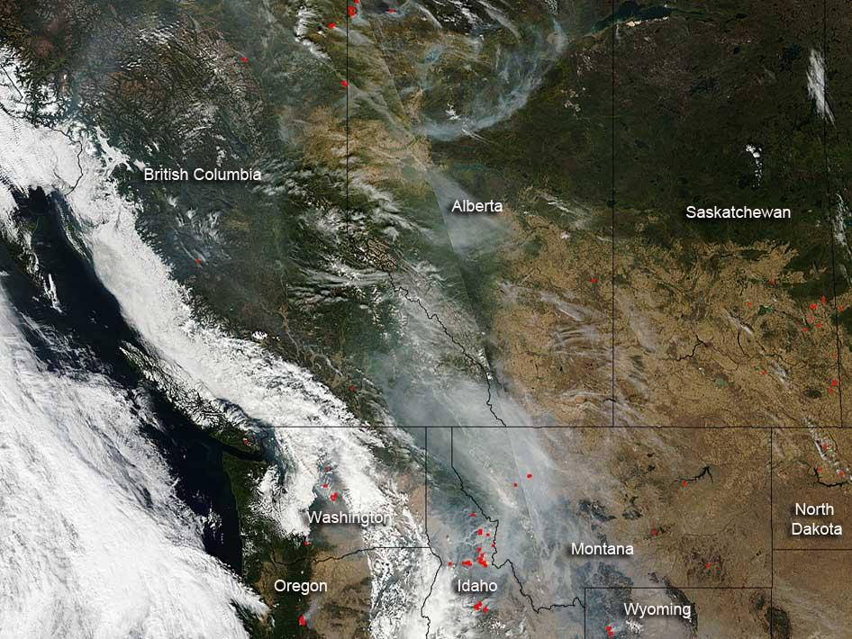 Fires in the western U.S. and Canada