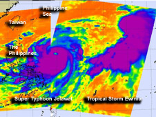 This combined image was created from infrared AIRS data of Super Typhoon Jelawat on Sept. 25 and Tropical Storm Ewiniar on Sept. 24 to give perspective of their distance from each other.