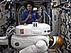 Astronaut Sunita Williams behind Robonaut 2 on the space station