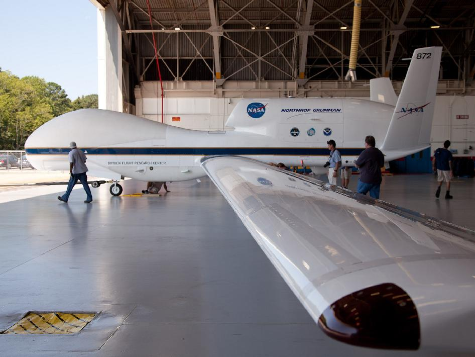 This image captures a perspective of NASA's Global Hawk unmanned aircraft from one of the wings. The Global Hawk is sitting at the aircraft hangar of NASA's Wallops Flight Facility in Wallops Island, Va on Sept. 7, 2012.