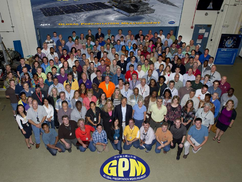This is the GPM Flight Project team (along with some science and outreach personele) outside the GPM integration and test facility at Goddard Space Flight Center.
