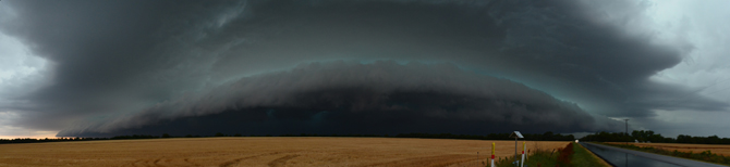 Panoramic view of a large storm approaching Kechi Kansas.