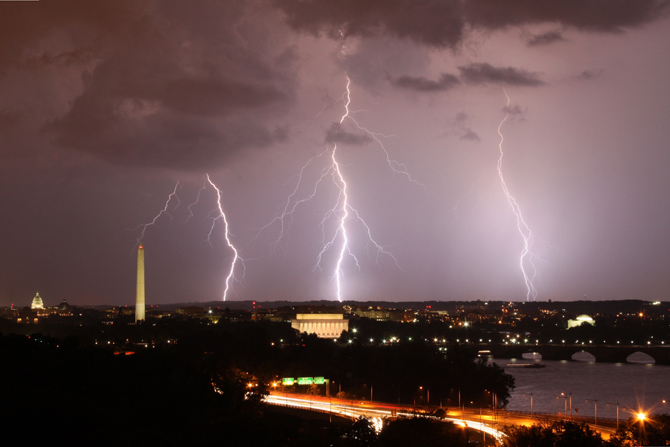 Three bolts of lightning strike near Washington DC.
