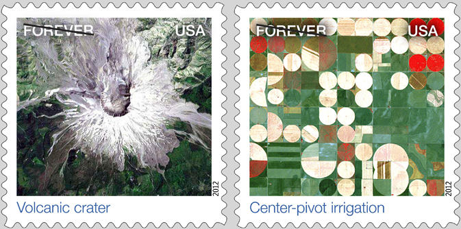 Earthscapes Volcanic Crater (left) and Center-Point Irrigation (right) stamps