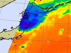 AIRS infrared image from Sept. 30 at at 11:53 a.m. EDT after Jelawat had made landfall on the big island of Japan
