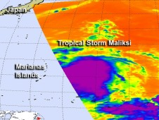 AIRS infrared image from Oct. 1 at 02:53 UTC as Tropical Depression 20W was strengthening into tropical storm Maliksi.
