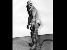 This 1940s-era laminated rubber fabric pressure suit was commonly called the