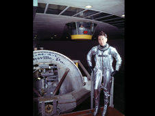 Pilot Scott Crossfield wears a 1950s-era pressure suit after emerging from tests inside the Wright Field human centrifuge that reproduced conditions at 7-G. Image credit: National Archives College Park Collection
