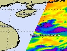 AIRS captured this image of Tropical Depression 21W as a developing low pressure area on Sept. 30.