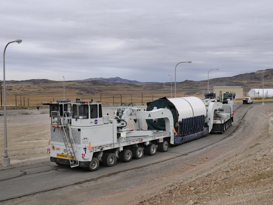 ATK moves a segment of the solid rocket booster for assembly at the company facility in Promontory, Utah.