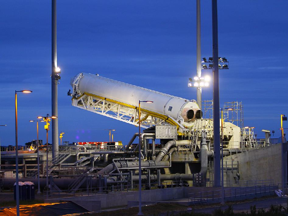 Orbital Sciences Corporation's Antares rocket at the launch pad at NASA's Wallops Flight Facility.