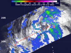 When TRMM satellite passed over Maliksi on Oct. 2 at 8:06 a.m. EDT, light rainfall (blue) was occurring over most of the storm.