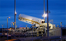 Orbital Sciences' Antares rocket at the launch pad at NASA's Wallops Flight Facility.