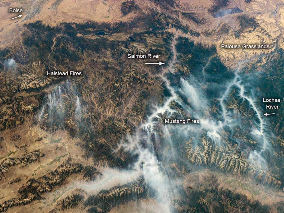 ISS image of the September 2012 Idaho fires