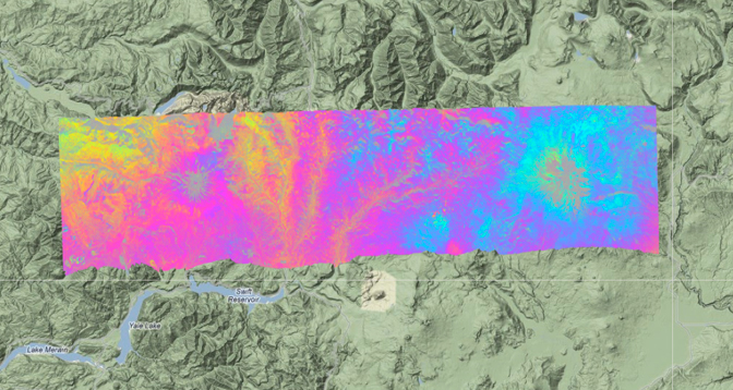 This UAVSAR interferogram shows active volcano Mount St. Helens (left) and dormant volcano Mount Adams, both in Washington state.