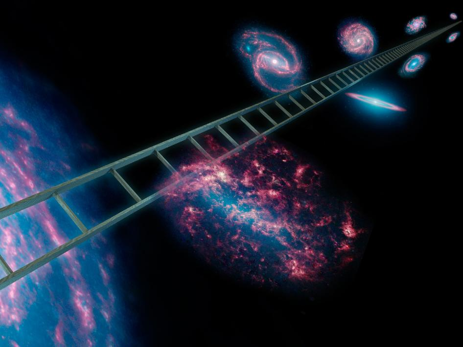 The cosmic distance ladder, symbolically shown here in this artist's concept, is a series of stars and other objects within galaxies that have known distances.