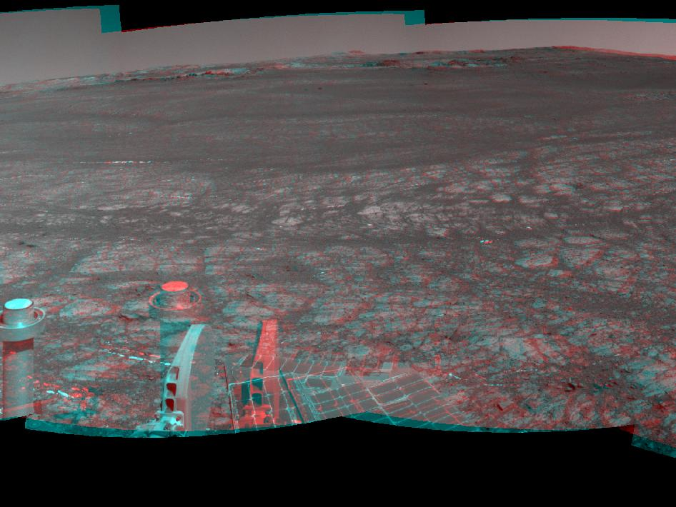 'Matijevic Hill' on rim of Mars' Endeavour Crater, stereo view