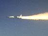 A modified Pegasus rocket ignites moments after release from the B-52B, beginning the acceleration of the X-43A over the Pacific Ocean on March 27, 2004.