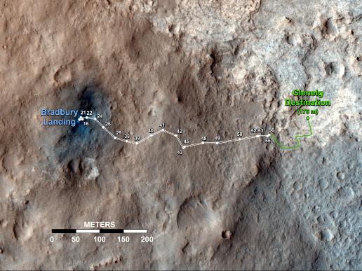 Traverse map for Curiosity