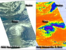 near-infrared (left) and infrared images of Oscar and Nadine