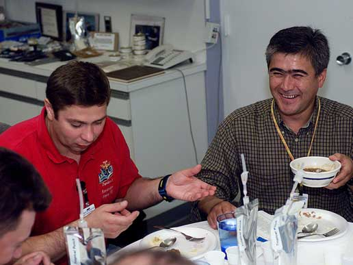 Cosmonaut Konstantin Koseev and Expedition 10 crewmember Salizhan Sharipov