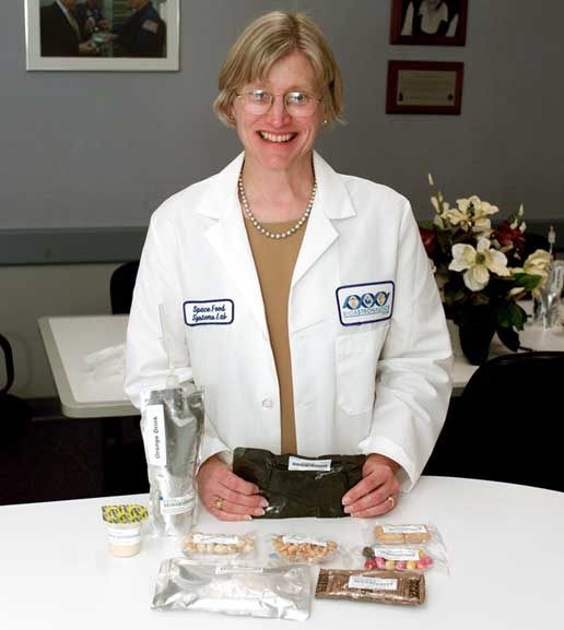 Food Tasting lab manager Vickie Kloeris pictured with a variety of Space Station snacks
