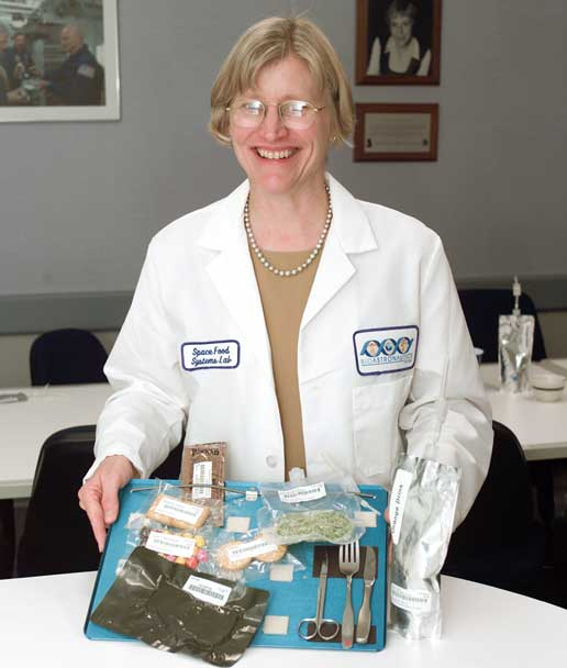 Vickie Kloeris, manager of the Food Tasting Lab, pictured with Space Station food