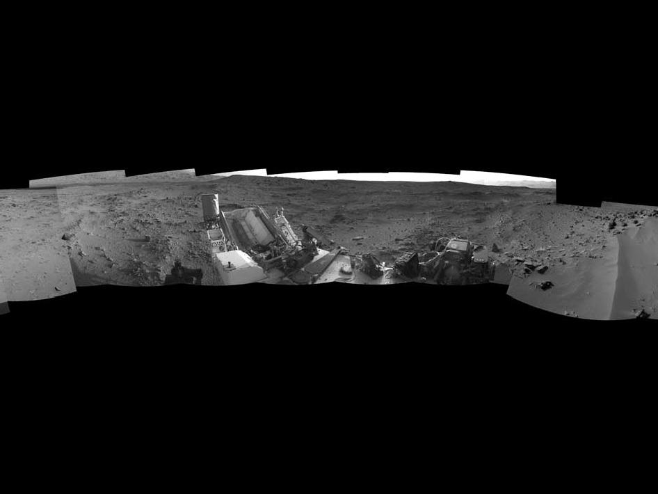 This 360-degree panorama from NASA's Mars rover Curiosity shows the rocky terrain surrounding it as of its 55th Martian day, or sol, of the mission (Oct. 1, 2012).