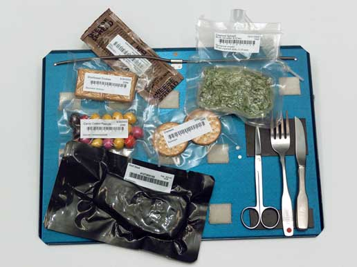 Image taken in the Food Tasting lab in bldg 17: Bags of Space Station food and utensils on tray.