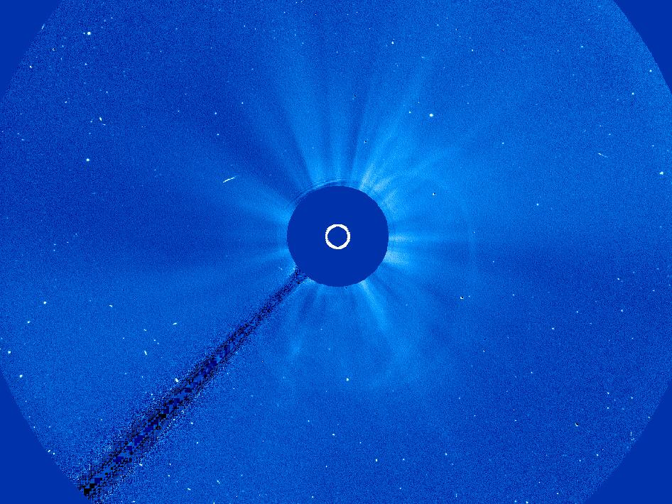 SOHO captured this image of an Earth-directed CME. Because of our point of view, these appear as halos.