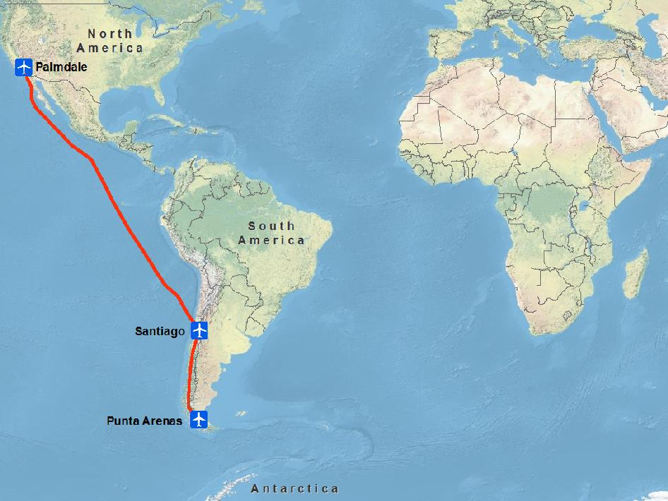 Global map of the transit route of the IceBridge DC-8 from California to Chile.