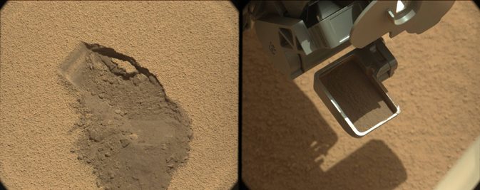 This pairing illustrates the first time that NASA's Mars rover Curiosity collected a scoop of soil on Mars