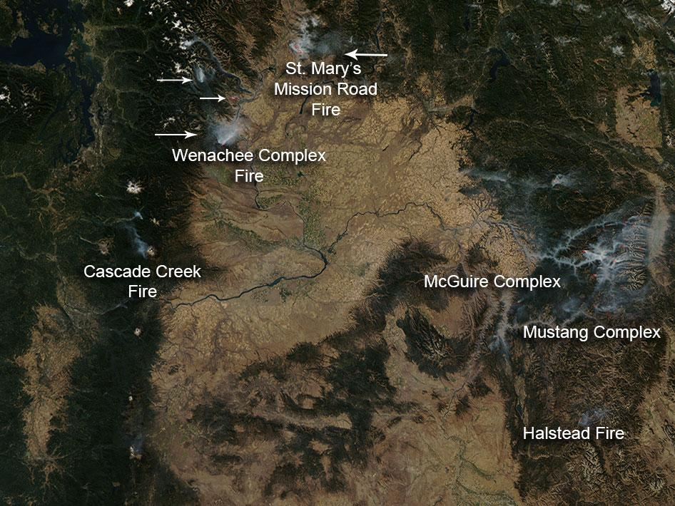 Fires in Washington and Idaho