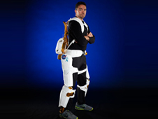 Project Engineer Roger Rovekamp demonstrates the X1 Robotic Exoskeleton