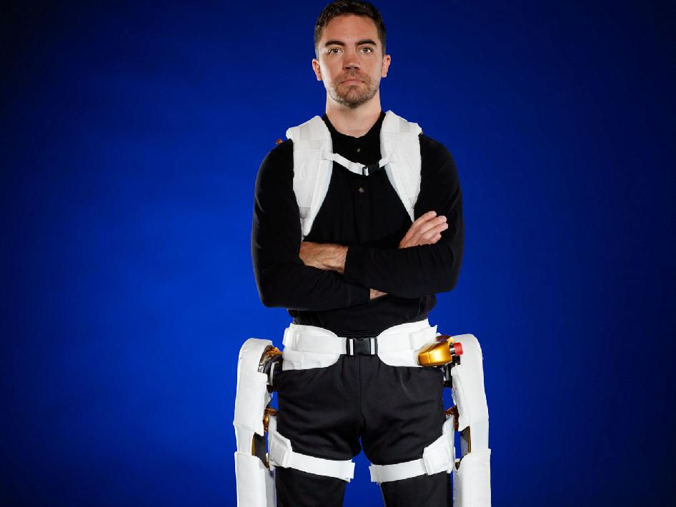Roger Rovekamp demonstrates the X1 Robotic Exoskeleton for resistive exercise